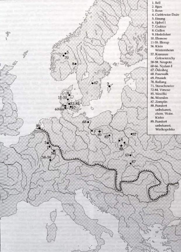 Карта распространения находок римских мечей II–IV веков на территории европейского Барбарика - Скандинавские клады: римские мечи   Warspot.ru