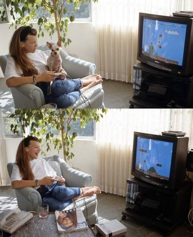 12-ти летняя Милла Йовович разбивает кирпичи головой Марио.