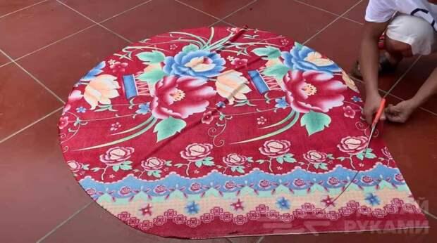 Красивый цветочный горшок из старой ткани и цемента