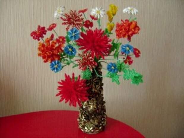 """Букет цветов в вазе """"Люблю я макароны"""". Мастер-класс."""