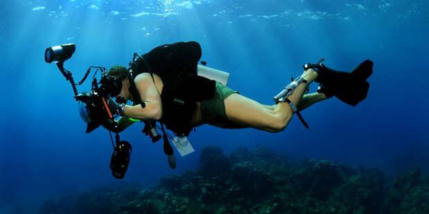 Съемка под водой. Фотограф
