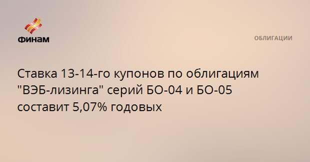"""Ставка 13-14-го купонов по облигациям """"ВЭБ-лизинга"""" серий БО-04 и БО-05 составит 5,07% годовых"""