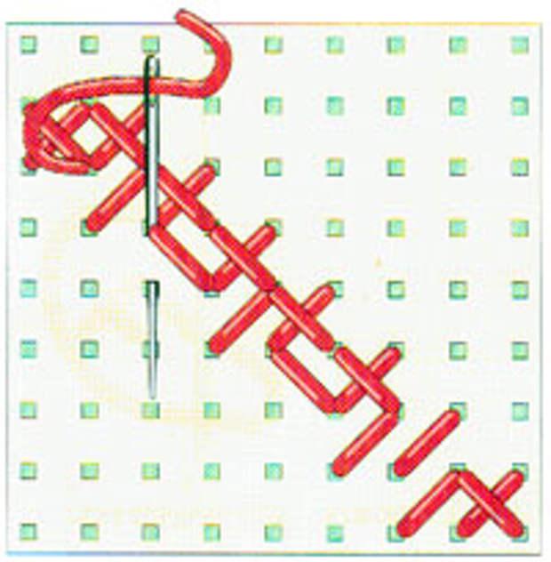 Вышивка крестиком по диагонали. Двойная диагональ справа налево (фото 13)