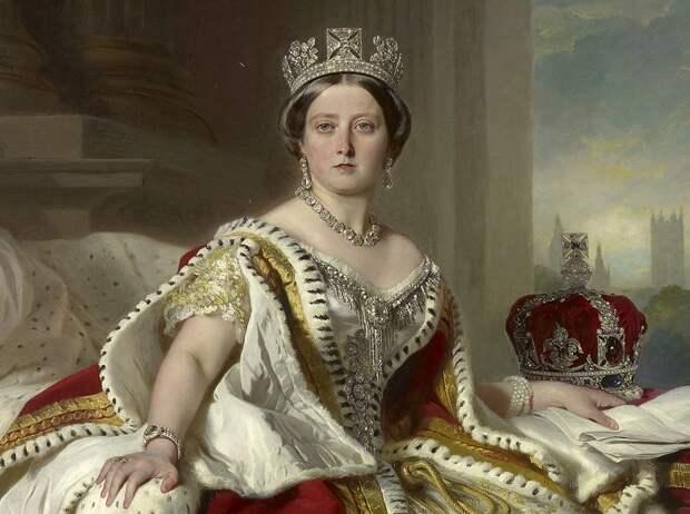 Деталь портрета королевы Виктории в коронационных одеяниях, Франц Ксавер Винтерхальтер, 1859. (сс) Wikimedia Commons