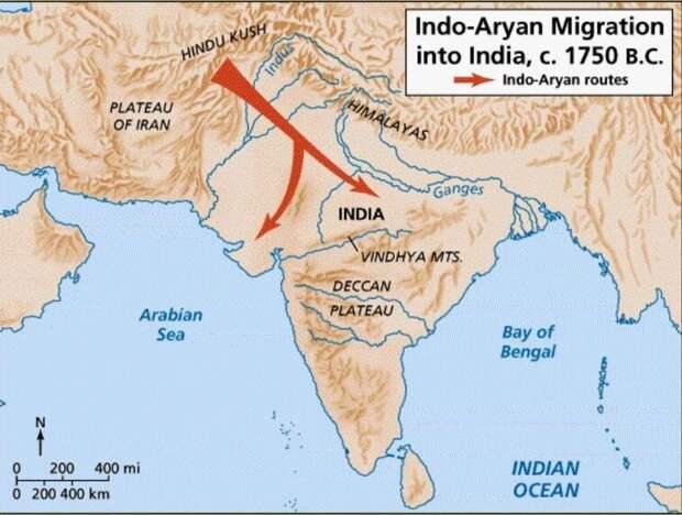карта миграции арийских племен в Индию 3700-3400 лет назад (университет Чикаго)