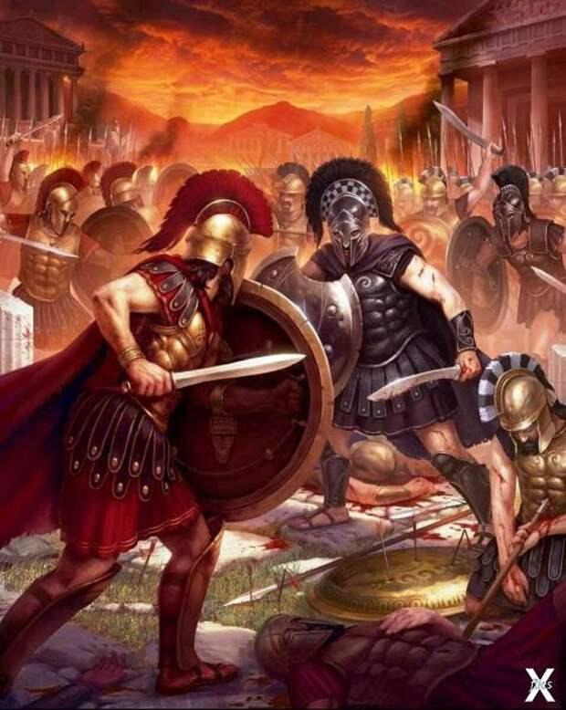 Битва римлян со спартанцами. Картина ...