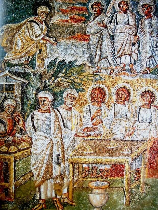 Гостеприимство Авраама. Санта-Мария Маджоре. Мозаика римского храма Санта Мария Маджоре (1-я пол. V в.)