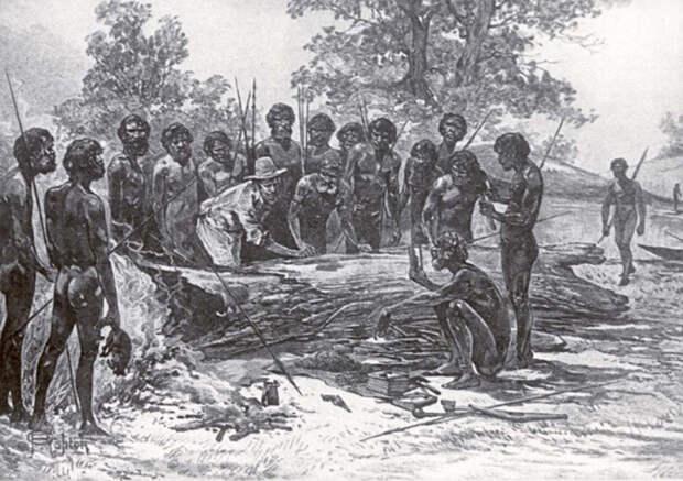Иллюстрация австралийских аборигенов начала 19 века.