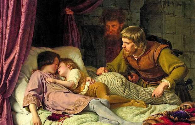 Как умирали дети во взрослой борьбе за трон. Картина Фердинанда Теодора Хильдебрандта.