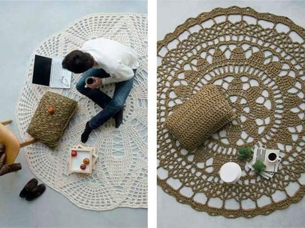 Вязаные коврики для уюта в доме. Необычные модели и описание