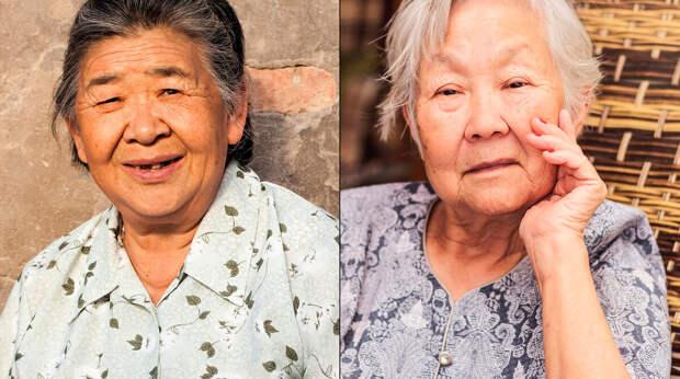 С другой стороны, пожилых людей отличить проще: японцы часто быстро седеют и сохраняют тонкие черты лица (китаянка слева, японка справа)