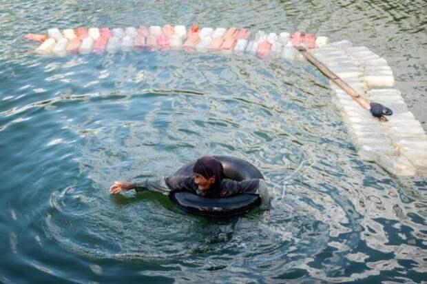 Бабушки, которые плавают по 3 км с 200 канистрами за спиной (4 фото)