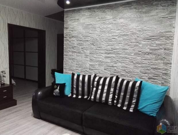 Серый камень в интерьере дома.