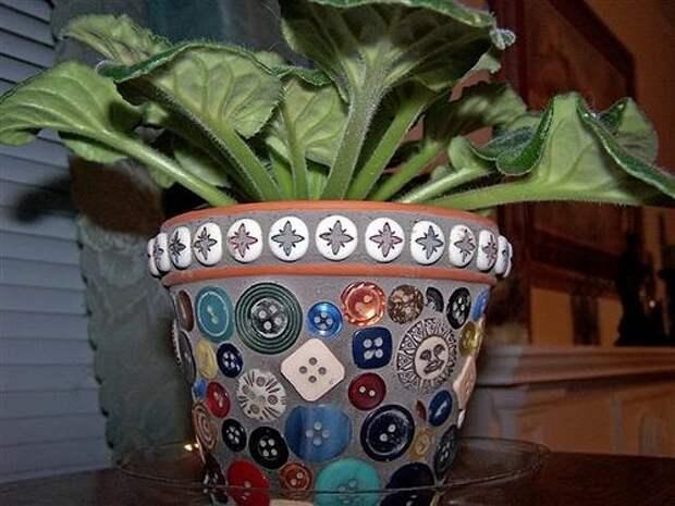 Идеи украшения цветочных горшков