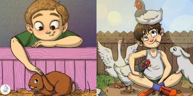 мальчик с кроликом и мальчик с курами