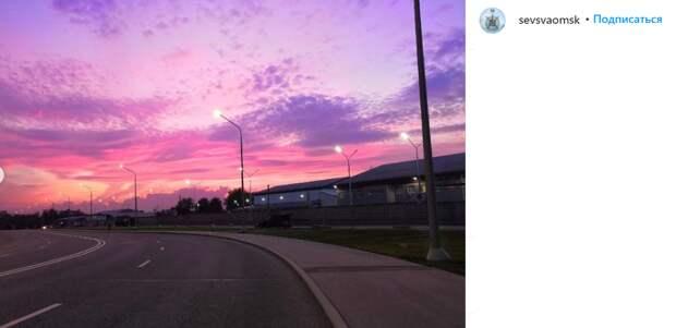 Фото дня: фиолетовый закат в Северном