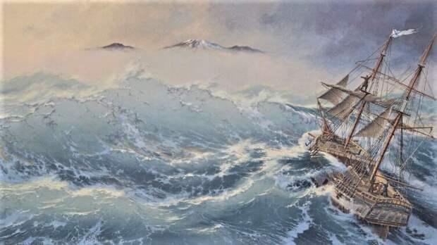 Пакетбот «Св. Пётр» в море. <br>