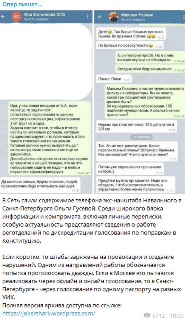 """""""Ира, у нас новая вводная от А.А."""": Неизвестные """"слили"""" план провокации от Навального и Ко"""