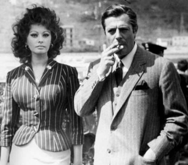 """Софи Лорен на съемках фильма """"Брак по-итальянски""""."""
