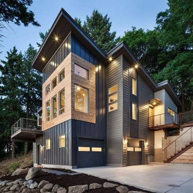 Красивый фасад дома - фото частных домов