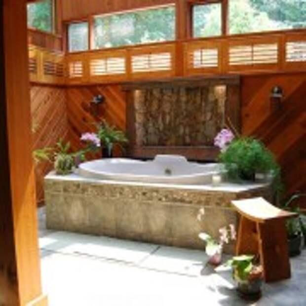Оформление ванной с помощью дерева