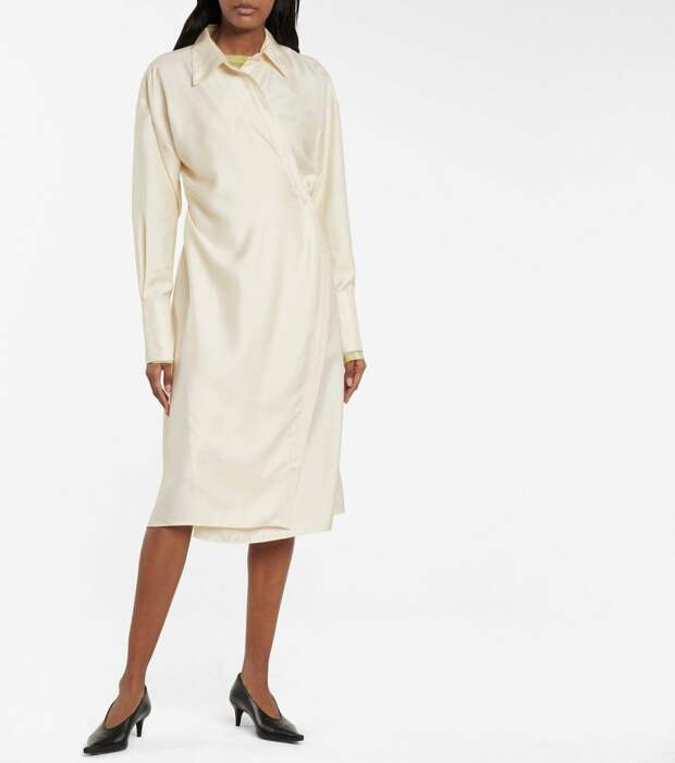 Атласное платье-рубашка Acne Studios