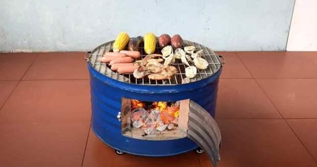 Печка-барбекю из металлической бочки и кирпичей