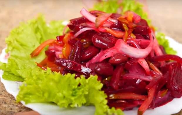 Простой постный салат из свеклы и фасоли