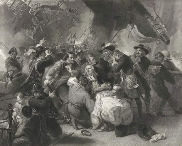Смерть де Рюйтера. Гравюра 1845 года. rijksmuseum.nl - Драка за Сицилию | Warspot.ru