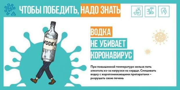 Спиртное не действует против коронавируса