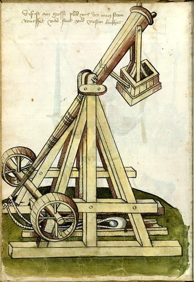 Изображение требушета на средневековой гравюре. /Фото: askdifference.com