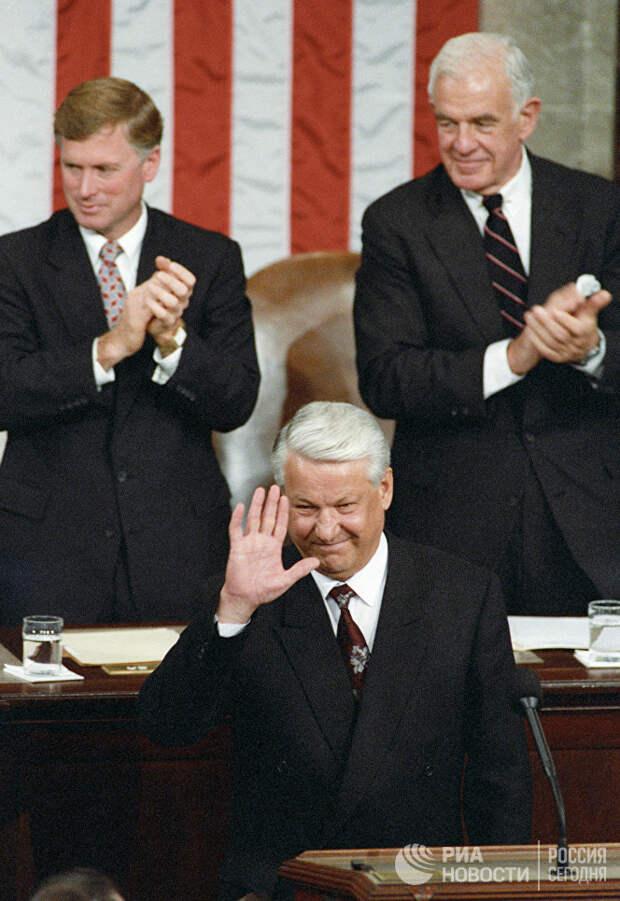 Борис Ельцин в Конгрессе США в 1992 году