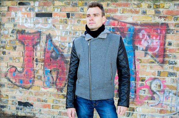 Куртка косуха с косой молнией