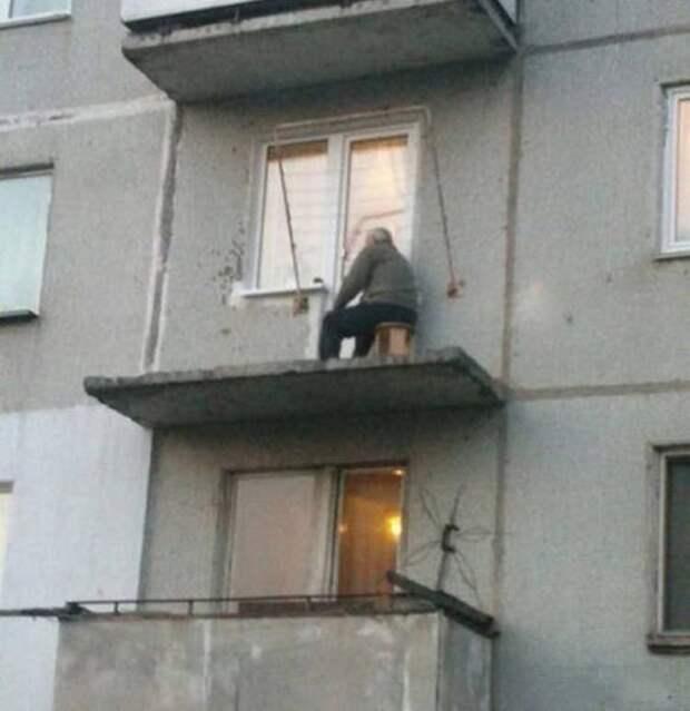Балкон в стиле минимализм прикол, только в россии, умом россию не понять, юмор