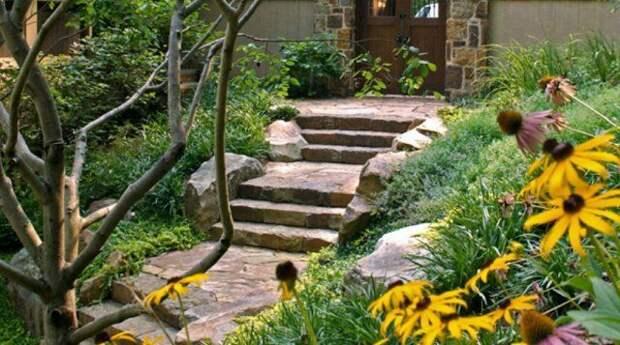 Лестницы в дизайне сада: оригинальные идеи для ступенек