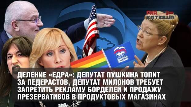 Деление «ЕдРа»: депутат Пушкина топит за педерастов, депутат Милонов требует запретить рекламу борделей и продажу презервативов в продуктовых магазинах