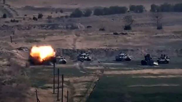 Боевые действия в Нагорном Карабахе. Стоп-кадр видео