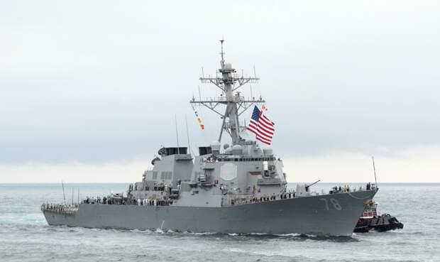 """Ракетный эсминец """"Портер"""" ВМС США в Черном море. Источник изображения: https://vk.com/denis_siniy"""