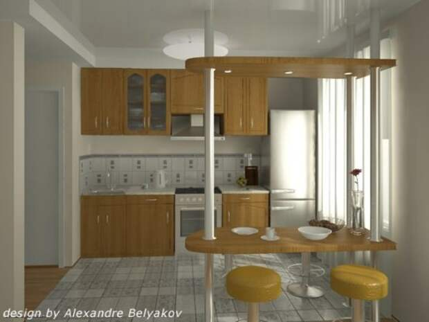 Авторский проект кухни с барной стойкой от Александра Белякова