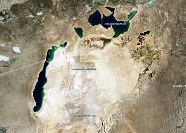 Аральское море со спутника в 2019 году