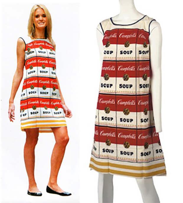 Бумажное платье с принтом супов Кэмпбелла стало хитом.