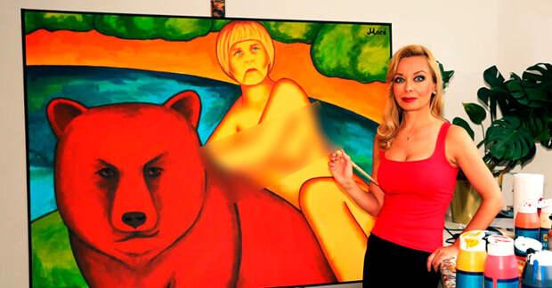 Ангелу Меркель нарисовали верхом на медведе