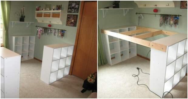 Огромный рабочий стол с местом для хранения из простых стеллажей IKEA