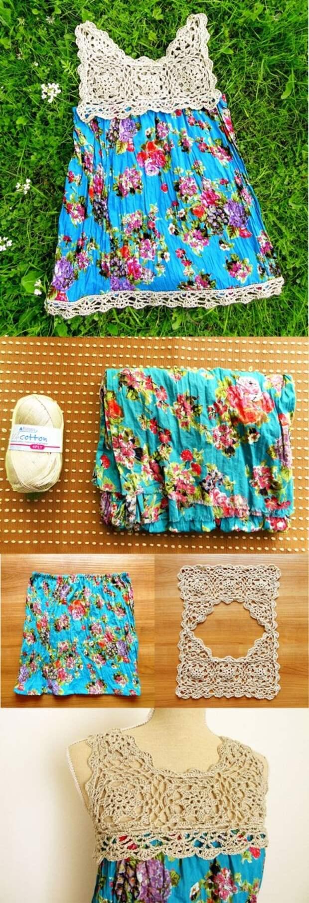 Идея для жаркого лета - детский сарафан с вязаной кокеткой