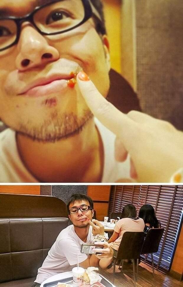 азиат в очках сидит в кафе