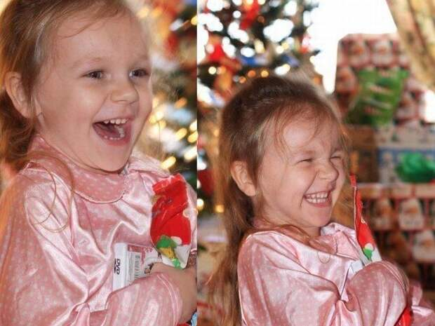 Эмоции детей получивших новогодние подарки.