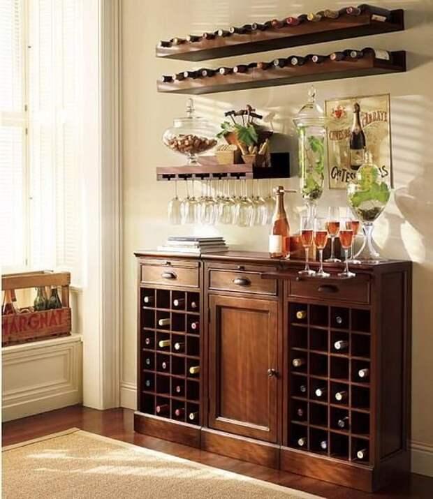 Идеи хранения бутылок с вином в доме