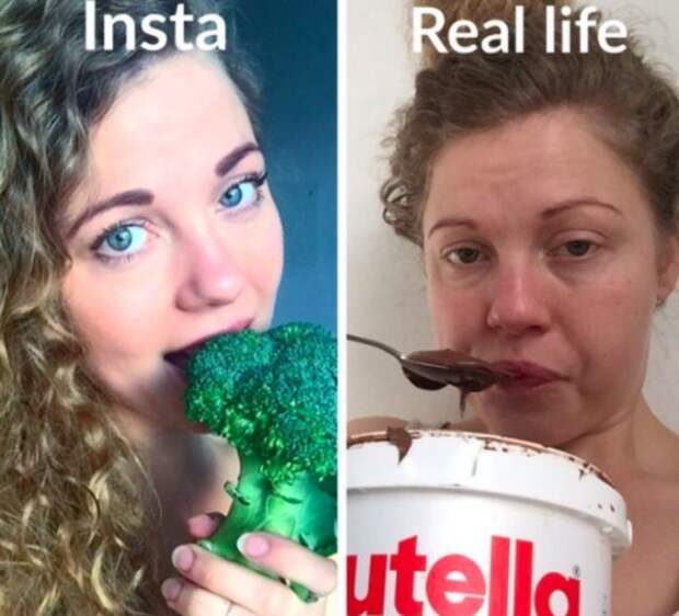 женщина ест брокколи и нутеллу