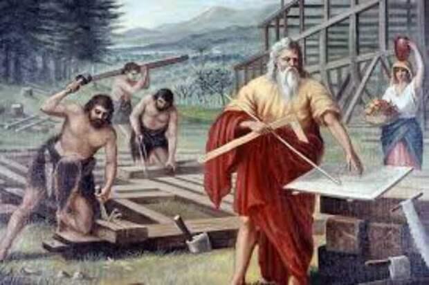 Ной с сыновьями строит ковчег.