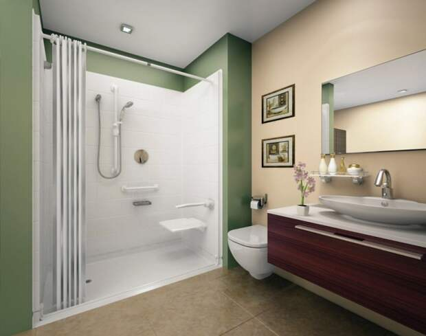 В этой ванной комнате все предметы находятся на своих местах, что позволяет оптимально организовать пространство.